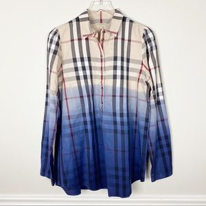Burberry two-tone  button down top blue